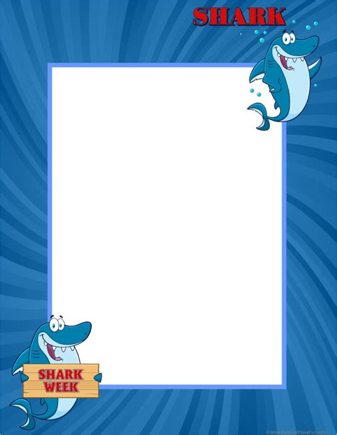 shark writing paper printable writing paper ruled paper bordered blank paper