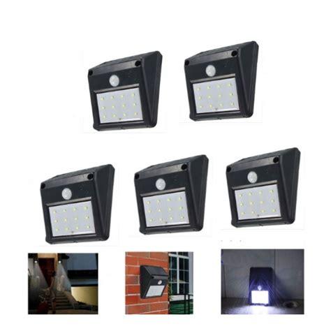 5x12 led solar powered pir motion sensor light outdoor