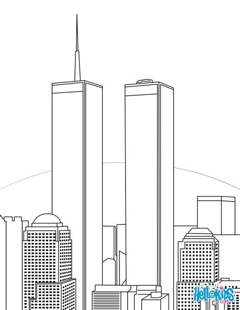 coloring pages of world trade center twin towers coloring pages hellokids com