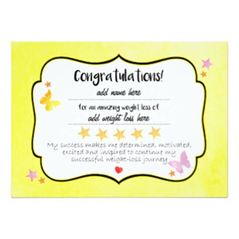 weight loss certificate template weight loss invitations announcements zazzle