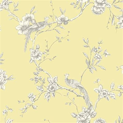 shabby chic bird on branch wallpaper yellow the shabby