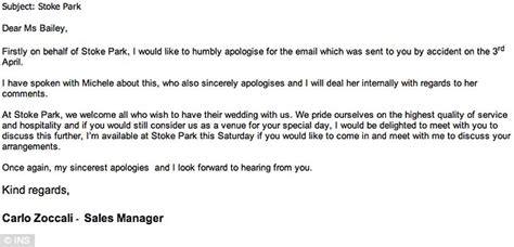 Apology Letter For Not Inviting Someone To Wedding stoke park hotel wedding planner sends snobby email about