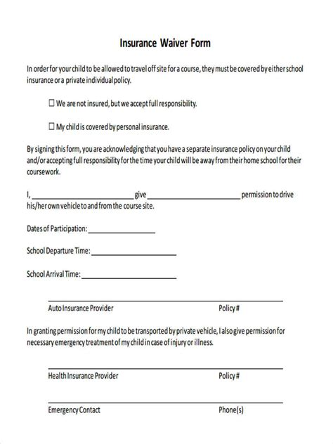 8 Insurance Waiver Forms   Free Sample, Example Format