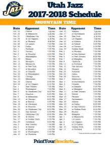 Ut Schedule Utah Jazz Mountain Time Schedule 2017 18 Printable