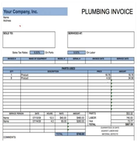 free plumbing receipt template 14 free plumbing invoice templates demplates