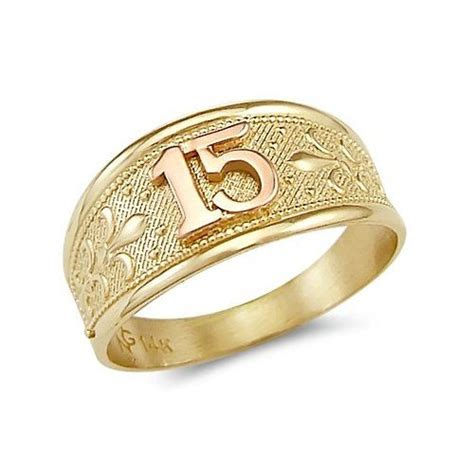 14k yellow gold sweet 15 birthday quinceanera ring