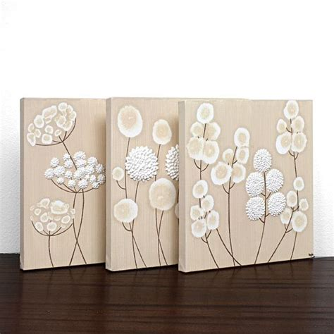 neutral wall decor neutral wall white flower painting triptych on canvas