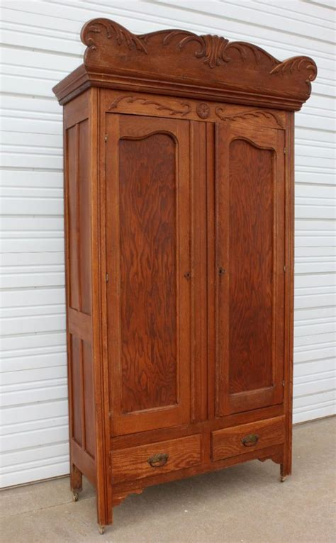 antique oak armoire wardrobe antique oak wood wardrobe armoire w carvings top crown