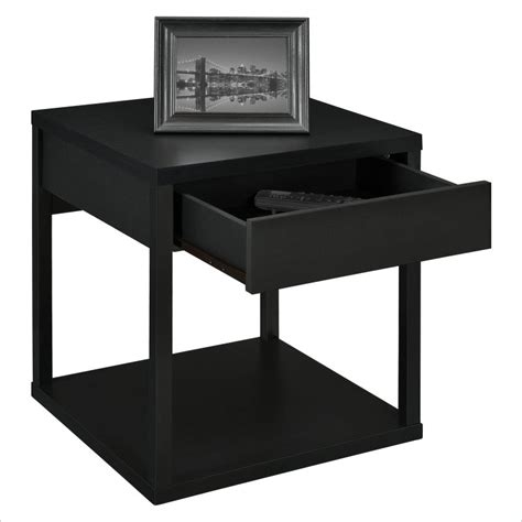 table with outlets altra outlet end table with drawer square black sku 561457 price 48 99 office