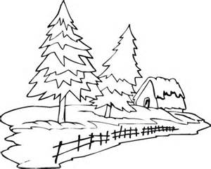 Spruce tree coloring page two pine trees and house