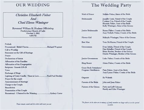 wedding church program templates free best photos of wedding church programs exles church