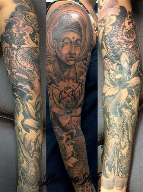 eddieborneoink buddha and dragon buddha sleeve oriental