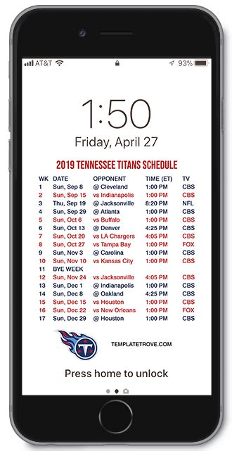 tennessee titans lock screen schedule  iphone