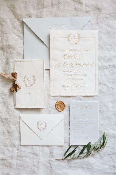 Handmade Paper Wedding Invitations - handmade paper gold foil invitations nashville wedding