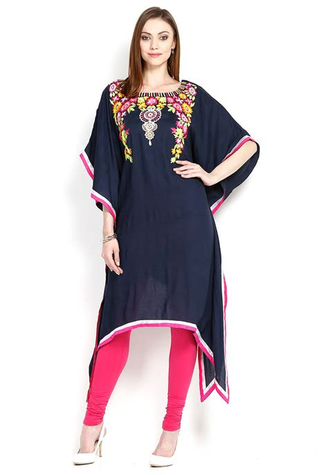 Kaftan Bordir Blue embroidered rayon kaftan in navy blue tuz35