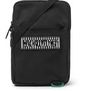 off white – logo appliquéd canvas camera bag – black   the
