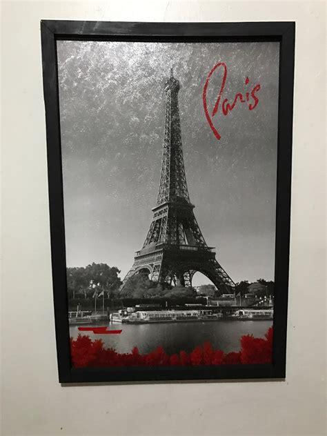 cuadro decorativo paris torre eiffel texto blanco  negro
