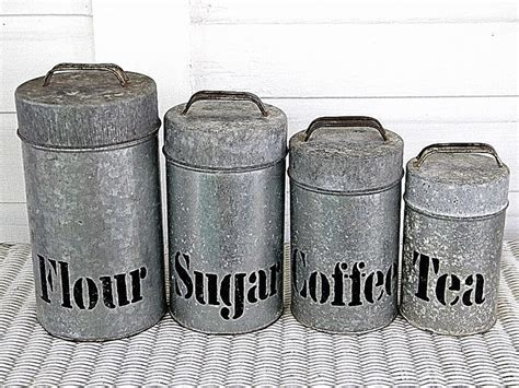 vintage metal kitchen canisters galvanized metal canister set vintage set galvanized tin canisters