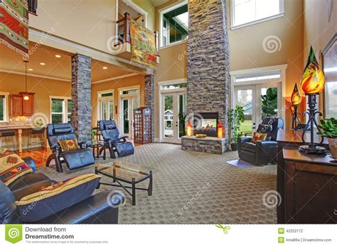 interior house columns luxury house interior living room with fireplace stock
