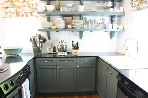 kitchens with shelves green go green with your kitchen cabinet color paint colors