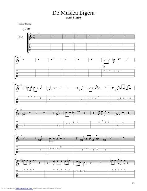 De Musica Ligera guitar pro tab by Soda Stereo