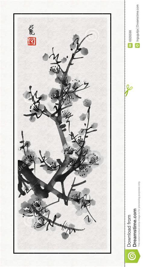 Japanese Cherry Blossom Tree sumi e sakura stock illustration image of painted asia
