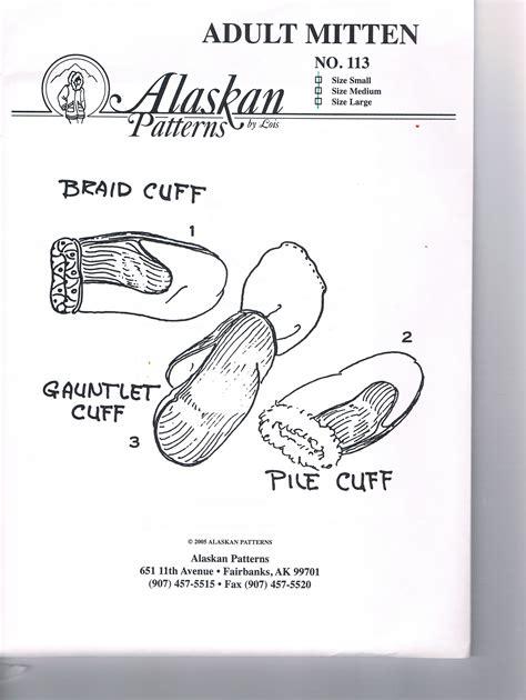 Adult Mitten Pattern Sizes Small Medium Large Alaskan Patterns Ornament Template