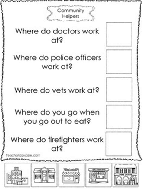 community helpers answer the question worksheets preschool