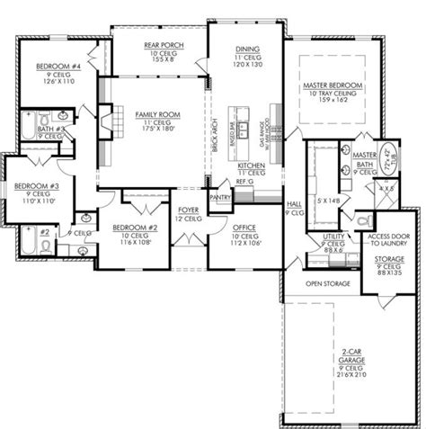 floor plan with 3 bedrooms 2 bathrooms 1 kitchen 1 living room 1 garage and 1 yard 653665 4 bedroom 3 bath and an office or playroom