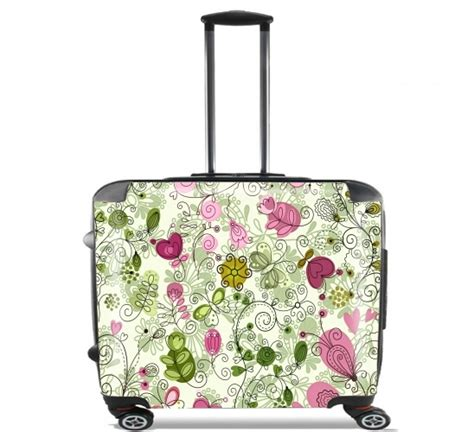flower doodle bag wheeled bag cabin luggage suitcase trolley 17 quot laptop with