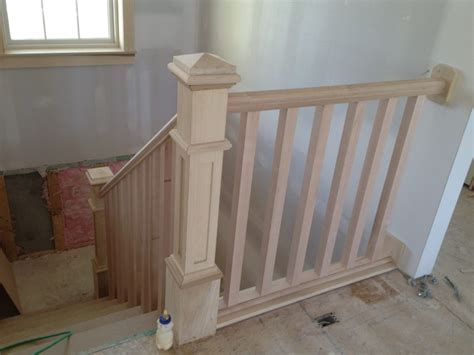 How To Install Banister On Stairs by Indoor Wood Stair Railing Designs Studio Design