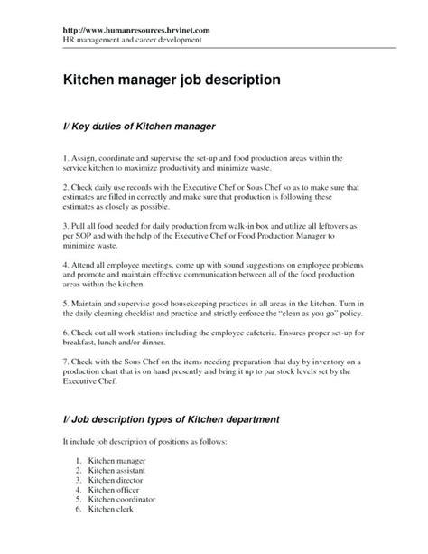 Kitchen Manager Checklist Huetour Club Kitchen Manager Description Template