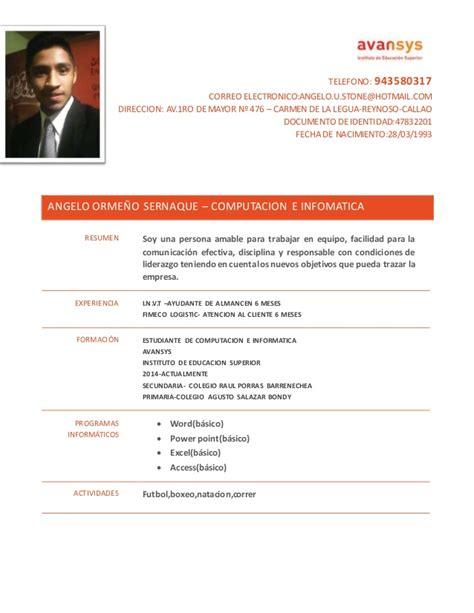 Modelo De Un Curriculum Vitae Peru Modelo Cv Avansys 2014