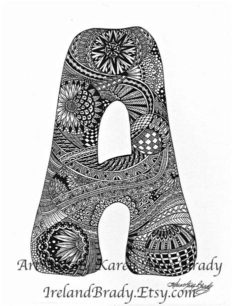 free printable zentangle letters aceo complete a to z zentangle inspired alphabet by