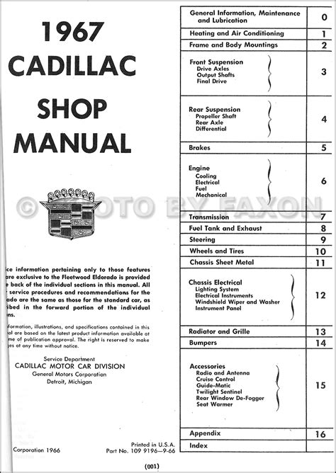 1967 Cadillac Repair Shop Manual Reprint Calais De Ville