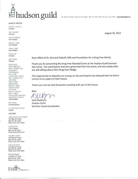 thank you letter after dental school thank you letter hudson guild