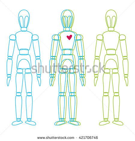 marionette layout view template vector line mannequin figure heart graphic stock vector