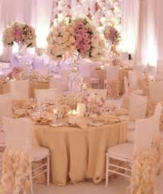 gold ivory and blush colored wedding reception