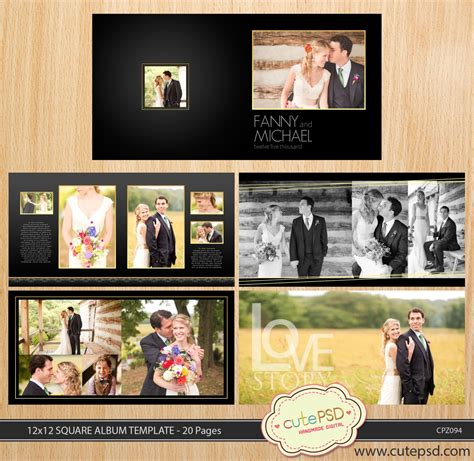 12x12 Square Wedding Album Template 20 Pages Dark Gold 8x12 Wedding Album Templates