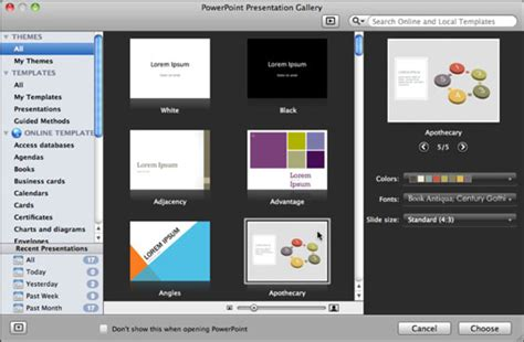 Open The Powerpoint Presentation Gallery In Office 2011 Powerpoint Presentation Gallery