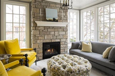 gray sofa  yellow velvet chairs transitional