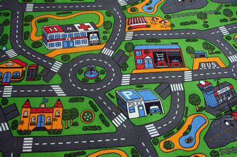 road rug childrens bedroom carpet 3mt x 3mt save waste car play town road map carpet ebay