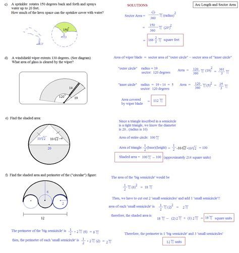 printable math worksheets arc length and area of a sector worksheet arc length and sector area worksheet grass