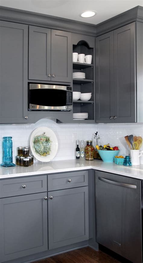 Gray Kitchen Cabinets Gray And White Transitional Kitchen Design With Teal Blue And Yellow Accents Featuring Gray
