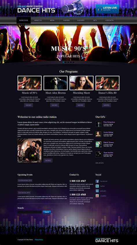 online radio responsive wordpress template on behance