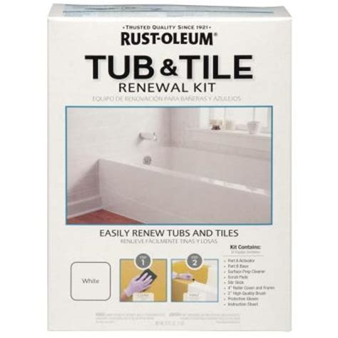 home depot tile paint kit rust oleum 1 qt white tub and tile renewal kit 264862