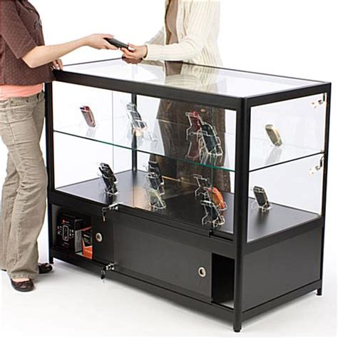 merchandise display case illuminated glass merchandise counter locking storage