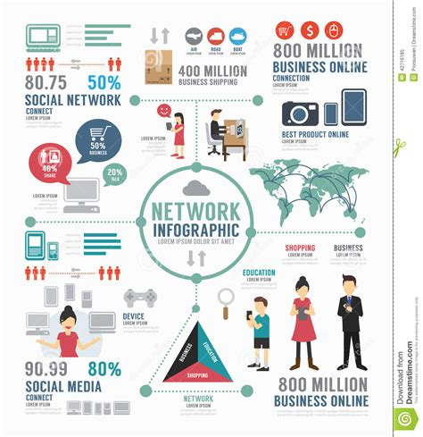 Infographic Social Network Template Design Concept Vector Stock Vector Illustration Of Social Network Website Design Template