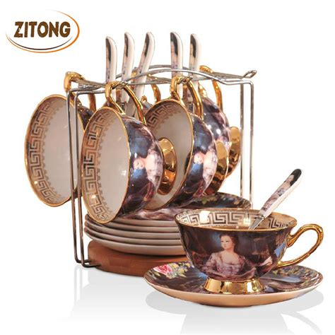 Best Quality Syari Vintage european style vintage ancient top quality bone china porcelain coffee cup set creative gift
