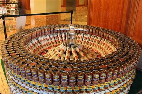 how to build a canned food sculpture canstruction sculptures made from nearly 30 000 cans of